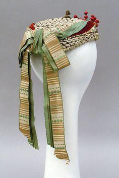 Hat Date: 1867–68 Culture: American Medium: straw, silk