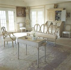 Love the Gustavian Style, though my husband would complain - where's the comfortable seating and the remote... sigh. Henhurst Interiors: A Few of My Favorite Things - Gustavian Furniture