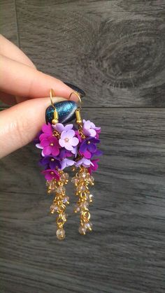 Flower Jewelry, Flower Earrings, Hair Jewelry, Dangle Earrings, Handmade Wire Jewelry, Wire Wrapped Jewelry, Polymer Clay Flowers, Polymer Clay Jewelry, Lilac Flowers