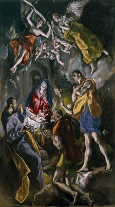 L'adoration des bergers Museo Nacional del Prado, Madrid) d'El Greco Religious Paintings, Religious Art, Art Espagnole, Painting Prints, Art Prints, Canvas Prints, Spanish Artists, The Shepherd, Art Graphique