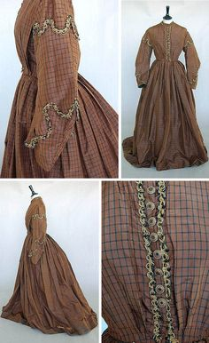 Brown check day dress ca. Kerry Taylor Auctions/Invaluable I love the trim detail. Victorian Era Fashion, 1800s Fashion, Victorian Costume, 19th Century Fashion, Vintage Fashion, Women's Fashion, Vintage Gowns, Vintage Outfits, Vintage Clothing