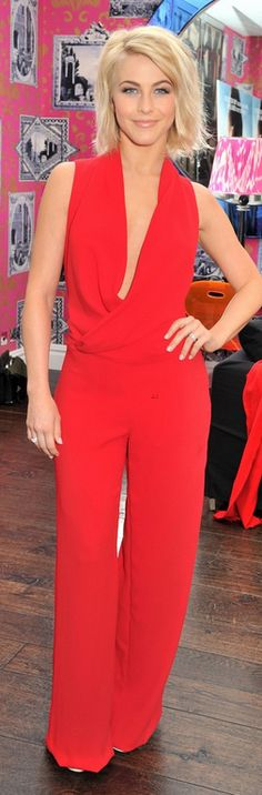 Who made  Julianne Hough's red jumpsuit that she wore in London on February 19, 2013?
