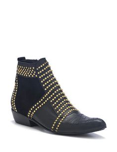 ANINE BING Ankle  Boots with Gold Studs