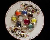 WHOLESALE  LOT  Vintage Inspired glass gem pedants, lot of TEN