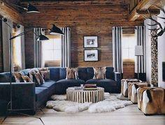 The Look: Ski Lodge in the Alps Elle Decor via Colleen Fox Interiors Hunting Lodge Interiors, Hunting Lodge Decor, Cabin Interiors, Chalet Interior, Interior Design, Ski Chalet Decor, Chalet Chic, Room Interior, Modern Lodge