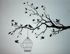 Branches with birds and cage
