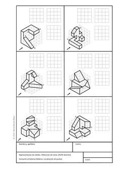 Resultado de imagen de dibujo técnico básico Isometric Sketch, Autocad Isometric Drawing, Isometric Grid, Isometric Drawing Exercises, Architecture Symbols, Orthographic Drawing, Geometric Construction, Interesting Drawings, Perspective Art