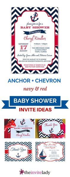 Ahoy! Fun Nautical BOY or GIRL baby shower ideas with anchors, whales, beach scenes, stripes. This one is called Anchor Chevron Navy and Red Baby Shower Invitation. Check out more Baby Shower Invites, Thank you cards, Bingo game cards and more at www.theinvitelady.com.