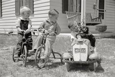"""May 1936. """"Boys playing. Decatur Homesteads, Indiana."""" by Carl Mydans for the Resettlement Administration"""
