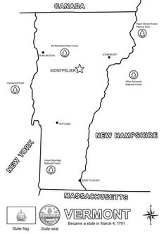 Click To See Printable Version Of Vermont State Map Coloring Page