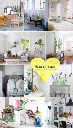 Ideas para decorar tu casa con damajuanas o garrafas grandes de vidrio.