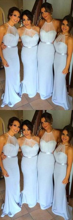 Simple Blue Mermaid Bridesmaid Dresses, Halter Backless Bridesmaid Wedding Party Dresses, Long Prom Party Dresses