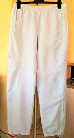 a7842ea7f4 Détails sur Pantalon de sport ADIDAS classe gris perlé satiné polyester T M  poches zips NEUF