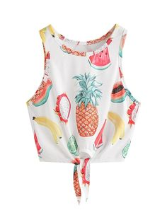 Online shopping for Fruit Print Knot Front Tank Top from a great selection of women's fashion clothing & more at MakeMeChic. Kids Outfits, Summer Outfits, Casual Outfits, Girls Fashion Clothes, Fashion Outfits, Women's Fashion, Crop Top Outfits, Cute Crop Tops, Printed Tank Tops
