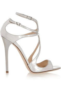 Jimmy Choo - Lance Metallic Leather Sandals - Silver Heel measures approximately inches. Finished with a sleek heel, the straps support your feet from to toe. Ankle Strap High Heels, Strappy Sandals Heels, Stilettos, Strap Sandals, Ankle Straps, Bridal Shoes, Wedding Shoes, Toni Garrn, Metallic Sandals