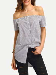 Blusa rayas verticales hombro al aire -negro blanco