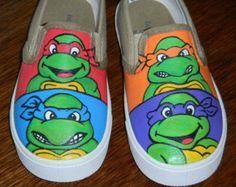 Vintage Teenage Mutant Ninja Turtles Hand Painted Shoes Toddler Youth Kids Boys Girls Slip-Ons Leonardo Raphael Donatello Michelangelo