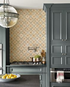 """Rich blue-greens and stone surfaces transform a formerly """"cold and sad"""" kitchen - caitlin moran kitchen of the month Home Decor Kitchen, New Kitchen, Home Kitchens, Kitchen Ideas, Kitchen Designs, Eclectic Kitchen, Scandinavian Kitchen, Kitchen Witch, Kitchen Inspiration"""