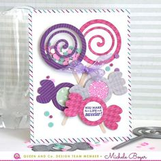 Easy Candy Shaker Cards! Candylicious! - Candy Land Kit - Queen & Co, Michele Boyer