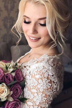 wedding makeup matte lips blond hair verafursova