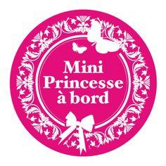 """Stickers de voiture """"Mini Princesse à bord"""" Royaume MELAZIC"""