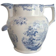 "Large blue and white Transferware Water Pitcher  England  19th Century  A very large, blue and white transferware Water Pitcher. ""Chinese Scenery"" by Goodwin and Bridgewood & Co."