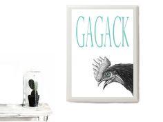 Kunstdruck Huhn von PapierMond auf DaWanda.com