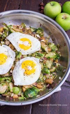 Sweet apples paired with caramelized Brussels Sprouts and chopped hazelnuts combine to be a drool worthy hash. Perfect recipe for breakfast, brunch, lunch or dinner. Vegan, gluten free, paleo. | www.pancakewarriors.com
