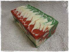 Christmas CP Soap ~ brlogarka Christmas Soap, Cold Process Soap, Home Made Soap, Jingle Bells, Poinsettia, Christmas Themes, Soap Making, Decorative Boxes, Homemade