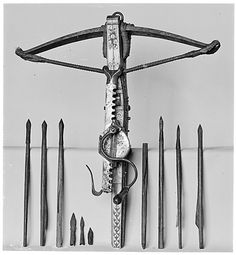 Crossbow, Cranequin and Ten Crossbow Bolts Date: crossbow ca. cranequin dated 1556 Geography: possibly Tyrol Crossbow Targets, Crossbow Bolts, Crossbow Arrows, Crossbow Hunting, Medieval Crossbow, Medieval Weapons, Survival Weapons, Survival Gear, English Longbow