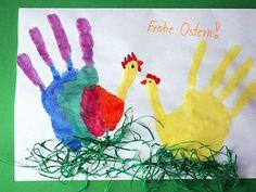 Frohe Ostern - Handabdruck als Hahn & Henne