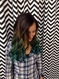 Ombre Hair-Style Brown to Teal