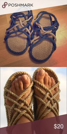 Rope Sandals Blue and tan colored Rope Sandals. Worn once, in perfect condition. Super comfortable!! Urban Outfitters Shoes Sandals