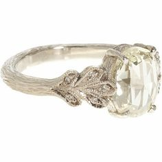 Vintage Engagement Ring...this is literally my ideal engagement ring! A delicate band that looks like the bark of a tree, and a unique but simple setting of small leaves with diamonds in them with one simple cushion cut stone. So lovely! CLICK THIS PIN if you want to learn how you can EARN MONEY while surfing on Pinterest