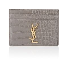 Saint Laurent Women's Monogram Card Case (935 SAR) ❤ liked on Polyvore featuring bags, wallets, genuine leather credit card holder wallet, card holder wallet, leather credit card holder wallet, crocodile leather wallet and crocodile wallet