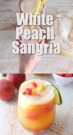 This white peach sangria is the perfect summer cocktail recipe combining refreshing white wine with fresh peaches, nectarines and lime juice! Peach Sangria Recipes, Mango Sangria, White Peach Sangria, Peach Wine, Peach Drinks, Coctails Recipes, Wine Recipes, White Wine Sangria, Rum Cocktail Recipes