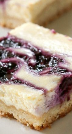 Blueberry Lemon Cheesecake Bars ~ with a buttery shortbread crust are the perfect summer treat.