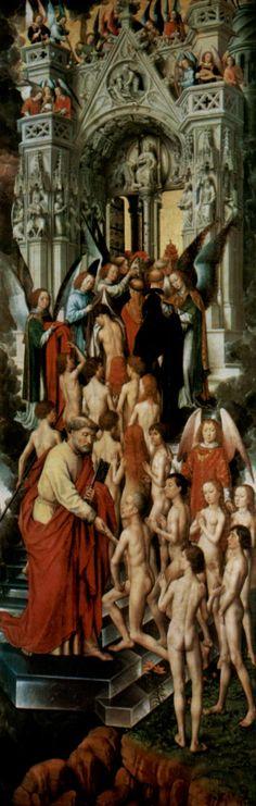 De zaligen betreden het Paradijs ~ Drieluik het Laatste Oordeel: linkerpaneel binnen ~ ca. 1467-1471 ~ Olieverf op hout ~ 90 x 242 cm, ~ National Museum, Gdansk