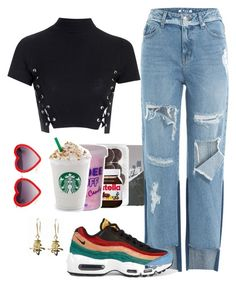 """""""Ootd & premade frap"""" by moonsailor ❤ liked on Polyvore featuring Glamorous, Markus Lupfer, SJYP, NIKE, fresh and Premade"""
