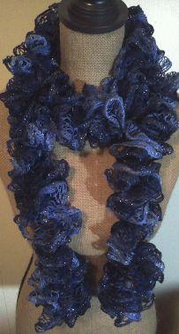 Crochet Ruffle Scarf - Sashay blue