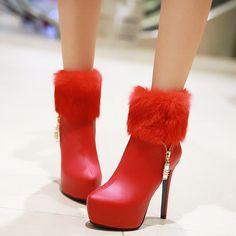 Shoespie Side Zipper Furry Platform High Heel Booties