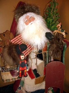 The Santamaker's Collection Christmas Scenes, Christmas Ideas, Original Santa Claus, Santa Decorations, Santa Doll, Tapestry Fabric, Old Fashioned Christmas, Father Christmas, Old World