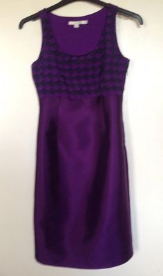 BODEN PURPLE & BLACK LOOSE SCALLOP FRONT SILK DRESS SIZE 8 - WORN ONCE ONLY! #Boden #Party