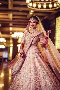 Unique Bridal Lehenga designs that is every Bride's pick in Sabyasachi Lehenga Bridal, Pink Lehenga, Indian Bridal Lehenga, Indian Bridal Outfits, Manish Malhotra Lehenga, Bridal Dresses, Pink Bridal Lehenga, Lehanga Bridal, Bridal Chura
