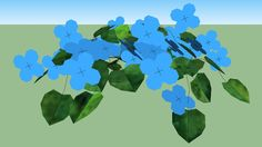 Large preview of 3D Model of Flower, blue.