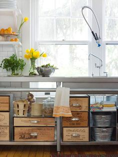 Reminds me of what my mom did in my parent's kitchen. She used produce crates as drawers. Wooden Crate Storage - Turn wooden crates into unique kitchen storage by adding drawer pulls, which makes it easier to pull the crates out from the shelves. Rustic Kitchen, Diy Kitchen, Kitchen Storage, Kitchen Drawers, Kitchen Organization, Open Kitchen, Vintage Kitchen, Whimsical Kitchen, Kitchen Island
