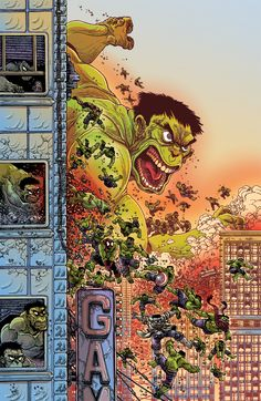wellnotwisely:Oh, how ridiculously good is this multi-Hulk cover by James Stokoe? I might need 2.