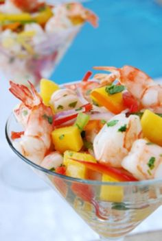 Shrimp Cocktail Recipe: The fresh citrus seafood marinade, sparked with horseradish and a dash of cilantro, gives this Shrimp Cocktail a flavorful twist. Juicy mango salsa is a tasty, colorful complement. #bariatric #mountcarmel