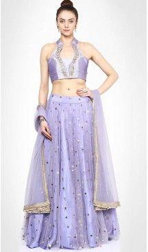 Lavender Net Designer Readymade Lehenga Choli Online | FH434468919