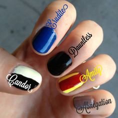 Choose your faction and pick your nail polish. Candor: black and white Erudite: blue Dauntless: black Amity: red and yellow Abnegation: gray Divergent: paint each nail for a different faction! Divergent Nails, Divergent Party, Divergent Fandom, Divergent Trilogy, Divergent Insurgent Allegiant, Divergent Quotes, Divergent Outfits, Divergent Dauntless, Divergent Funny